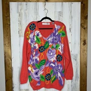 Vintage Chaus chunky knit sweater floral pink 1X